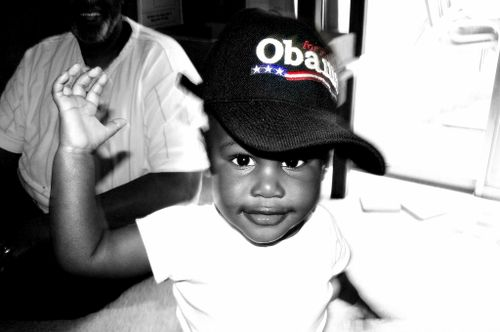 Baby Boy wearing Obama hat