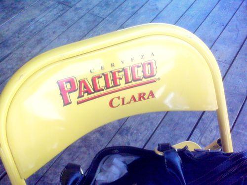 yellow folding chair