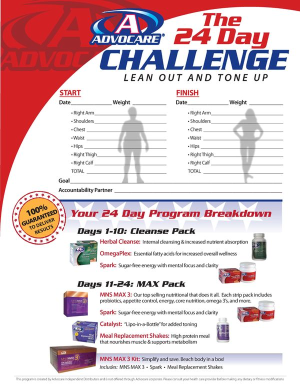 advocare 24 day challenge meal plan guide
