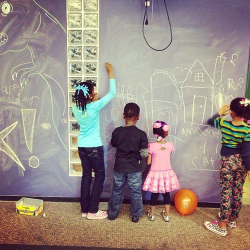Book People Birthday Party Chalkboard paint wall